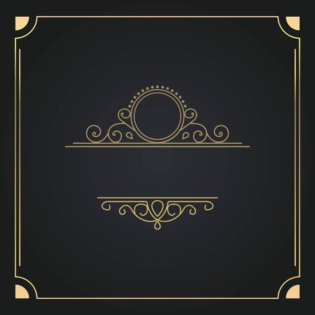 Square Vinrage Frame in gold color with a floral ornament and place for text. Square vintage patterned frame with an ornament inside for text on a black-gray background