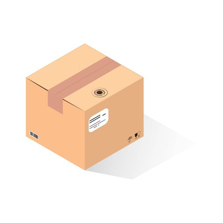 Parcel delivery service with isometric carton box . Isometric parcel box for shipping and delivery. Realistic isometric parcel carton box for delivery service, isolated vector. Illustration