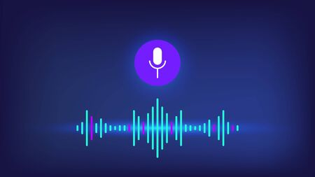 Personal voice assistant with microphone and sound wave on blue background. Sound voice wave with microphone vector eps10. Sound speech wave with microphone, personal voice assistant