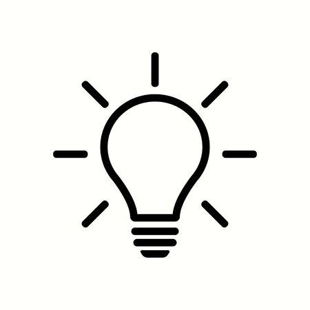 Light bulb black color with rays. Light bulb black color vectoe eps10. Bulb with light rays idea sign.