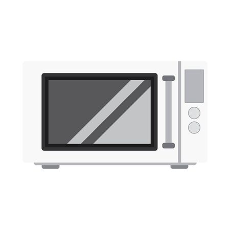 Microwave stove flat style. White microwave  icon vector eps10. White microwave front view isolated on white.