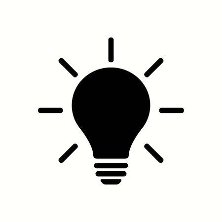Light bulb black color with rays. Light bulb black color vectoe eps10. Idea mind bulb light in flat grey style.