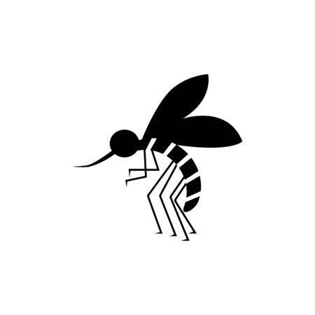 Bloodsucker mosquito insect black color icon. Insect mosquito sign, vector eps10. Black mosquito isolated on white. Illustration