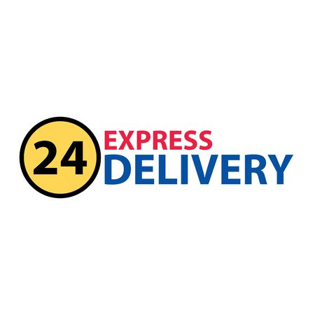 Express delivery 24 hours sign. Express delivery inscription with 24 hours circle. Delivery service sign isolated on white. Illustration
