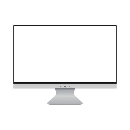 Desktop computer screen isolated on white. Desktop computer with blank screen monitor vector eps10. Computer desctop front view with empty screen.