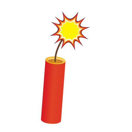 One red dynamite stick, with burning wick isolated on white, vector eps10. Burning dynamite stick comic pop style with wick fire. Burning red dynamite stick pop comic style isolated on white.
