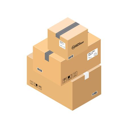 Three parcel boxes in stock  of a delivery  service depicted in an isometric plane at an angle of 30 degrees isolated on white. Delivery service isometric boxes 3d