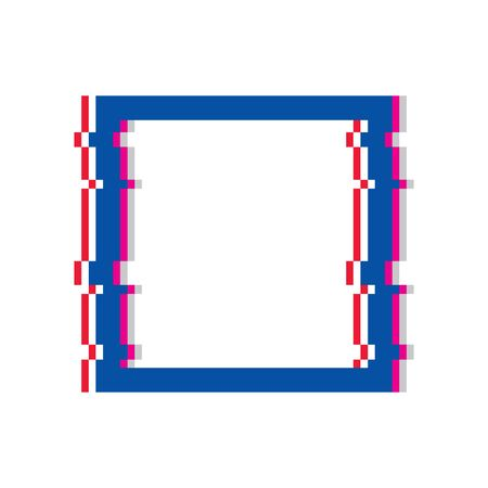 The shape of a square or rectangle frame with the effect of a glitch. Square with glitch effect. Glitch square frame vector eps10.