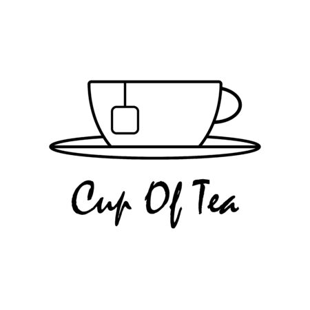 Cup of tea outline vector isolated. up and saucer with a teabag hanging on the edge outline icon vector eps10. Black color out lines cup and saucer on white background.