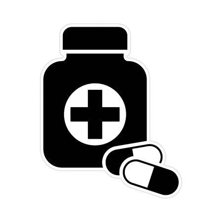 First medical aid symbol in the form of a jar with cross on it and with two pills in black and white colors sticker. First medical aid Jar with two pills black color vector eps10, pharmacy  sticker.
