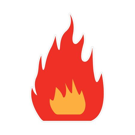 Bonfire with fire in the form of a red sticker. Vector illustration of burning campfire, isolated on white. Illusztráció