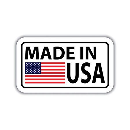 Placa con sombra y con inscripción realizada en USA. Hecho en insignia de Estados Unidos con bandera americana. Hecho en bandera de Estados Unidos con sombra aislada en blanco. Ilustración de vector