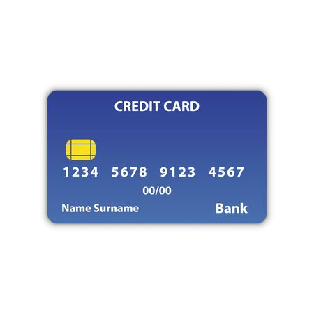 Bank credit card in blue top view, with shadow and inscriptions, expiration, owners name and bank card number. Credit bank card e-commerce paying icon vector eps10