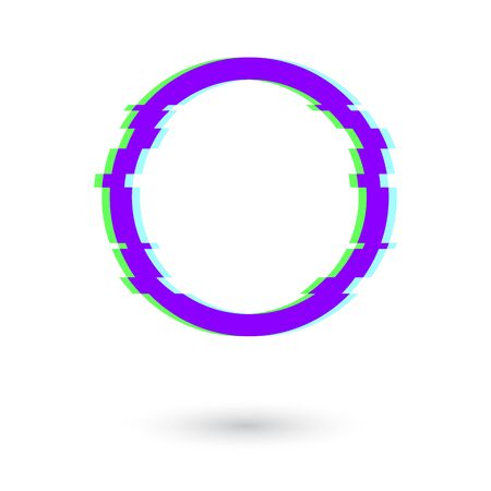 Circle frame glitch effect. Glitch effect circle with shadow.   Circle with the effect of lag, bug or glitch vector eps10. Illusztráció