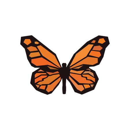Petrified butterfly with colored wings from the prehistoric Jurassic period. Petrified butterfly with patterned wings vector eps10.