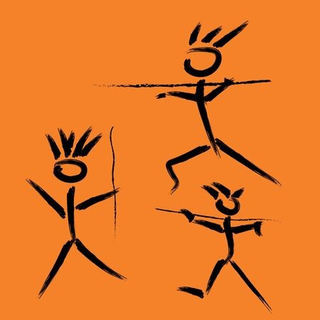 Imitazione di pitture rupestri di persone preistoriche che cacciano con le lance, disegnate a mano. Le persone preistoriche cacciano il disegno rupestre, vettore isolato sull'arancia.