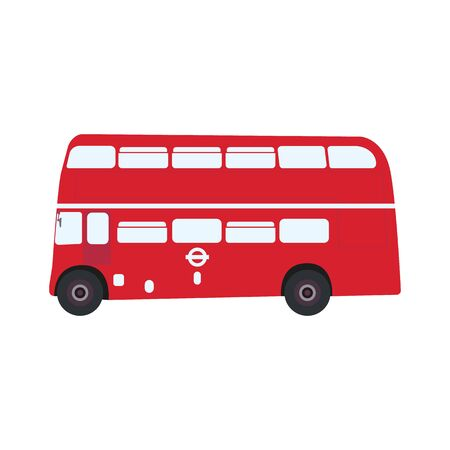 English classic double decker bus with windows, side view. Englsih red color double decker bus with windows and wheels on white background vector eps10.