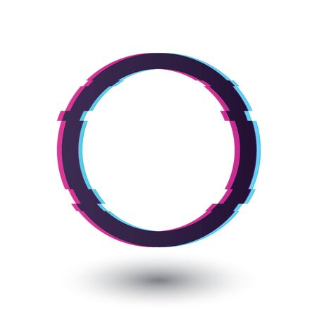 Circle frame glitch effect. Glitch effect circle with shadow.   Circle with the effect of lag, bug or glitch vector eps10. Illustration