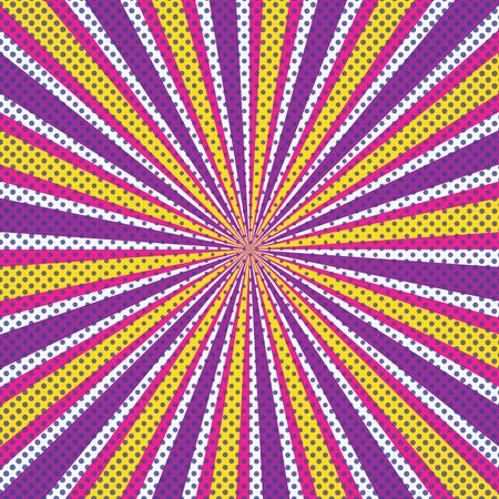 Retro sun rays background purple, orange, yellow, white rays stripes with comic style dots. Comic style background dont and sunrays vector eps10.