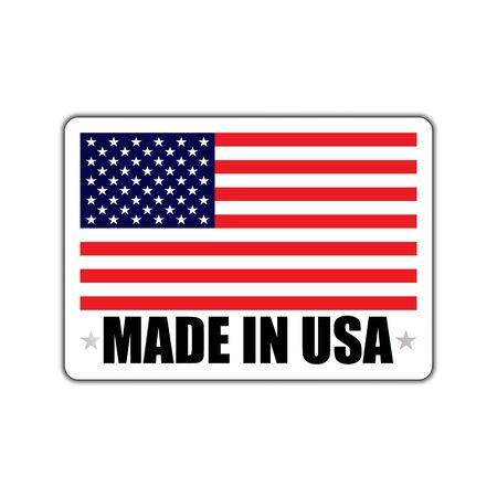 Distintivo con un'ombra e con la scritta made in USA. Made in usa distintivo con bandiera americana. Made in usa banner con ombra isolata su bianco.