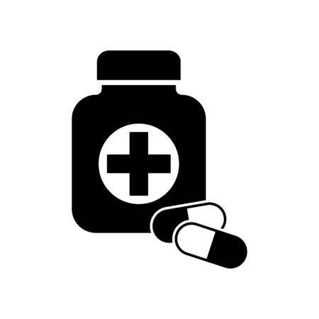First medical aid symbol in the form of a jar with cross on it and with two pills in black and white colors. First medical aid Jar with two pills black color vector eps10. Medical bottle icon. Illustration