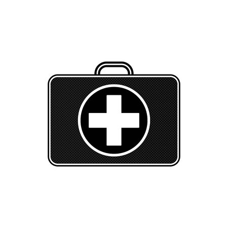 Portable first aid kit black color with white cross on it. pharmacy bag case with white cross. First aid kit isolated on white, vector.