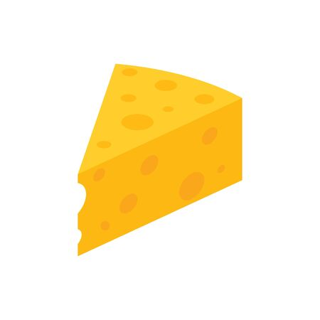 Piece of yellow cheese with holes isolated on white. Cut a slice of cheese with holes vector eps10. Piece of yellow cheese, icon.