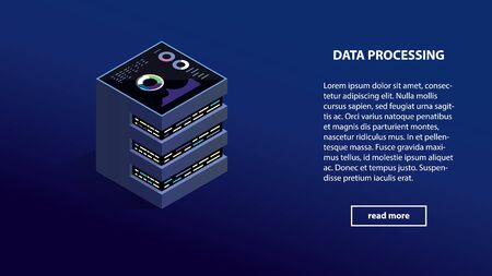 Isometric data center processing server computer on blue background. Data processing technology isometric online center or mining server vector eps10. Isometric Data center server on blue background.