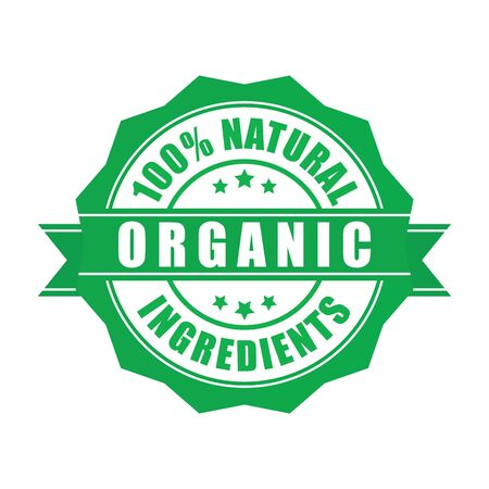 Green and round certified organic food quality stamp, isolated on white. Certified high quality organic stamp vector eps10. Natural organic food badge, green color.