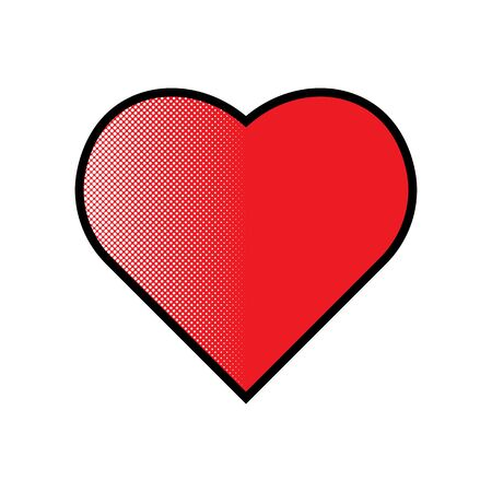 Red love heart sign with comic style dots. Valentine Heart red color icon vector eps10. Red heart Love symbol icon.