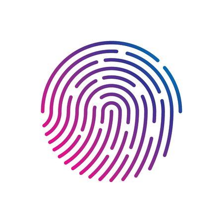 Menschlicher Fingerabdruck mit Farbverlauf zur Sicherheitskontrolle am Eingang. Menschlicher farbiger Fingerabdruck zur Sicherheitsüberprüfung während der Identifizierung oder Autorisierungsvektor eps10 Vektorgrafik