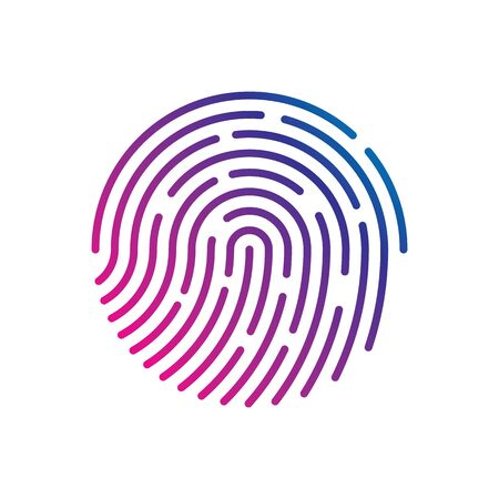 Menselijke vingerafdruk met verloop voor veiligheidscontrole bij de ingang. Menselijk gekleurde vingerafdruk voor veiligheidsverificatie tijdens identificatie of autorisatie vector eps10 Vector Illustratie
