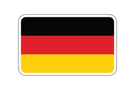 Germany flag isolated on white. German flag badge with shadow. German flag with shadow, badge icon.