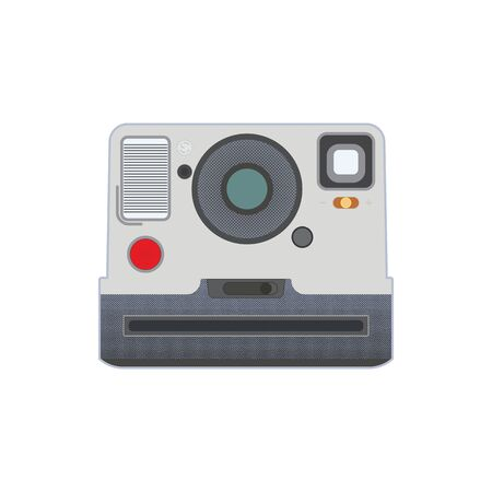 vintage photo camera with comic style dots isolated on white, vector icon. Old photo camera with comic dots effect isolated on white. Illustration