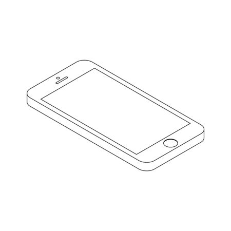 Isometric realistic smartphone black color outline, with a blank screen isolated on white, vector icon. Isometric smartphone outline 3d. Illustration