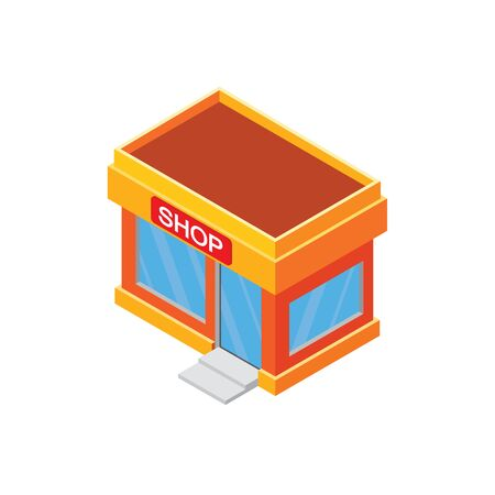 Isometric Store or shop  orange color  with a shop sign, windows and door with steps isolated on white. Orange color isometric store building. Isometric store building isolated vector on white.