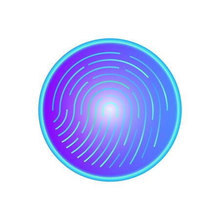 Fingerprint scanner button for security access. Human colored fingerprint for security verification during identification or authorization vector eps10 Illusztráció