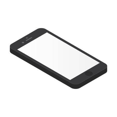 Black isometric smartphone with blank grey screen. Isometric smartphone black color isolated on white, vector. Smartphone isometric black color with grey screen.