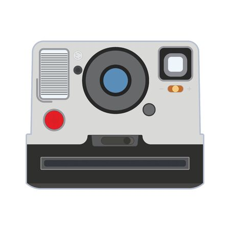 Retro Old photo camera vector eps10. Old vintage photo camera on white background. Retro vintage photo camera front view