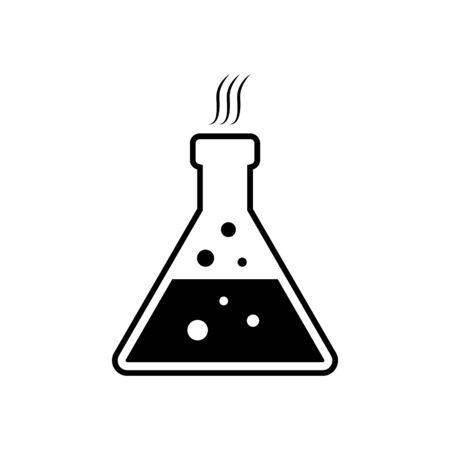 Laboratory chemical glassware, vessels for liquids with bubbles in black color.  Chemical flask or can with liquid inside vector eps10. dishes for tests or experiments Illustration
