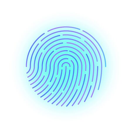 Ludzki odcisk palca z gradientem do kontroli bezpieczeństwa przy wejściu. Kolorowy odcisk palca do weryfikacji bezpieczeństwa podczas identyfikacji lub wektor autoryzacji eps10 Ilustracje wektorowe