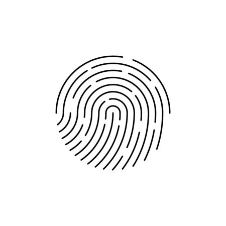 Human black color fingerprint for security check at the entrance.  Human fingerprint for security verification during identification or authorization vector eps10 Illusztráció