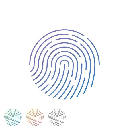 Human fingerprint with gradient for security check at the entrance.  Human colored fingerprint for security verification during identification or authorization vector eps10