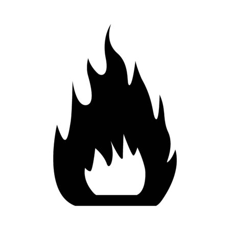 Campfire black color vector. Campfire flat style isolated on white. Fire or campfire icon black color.