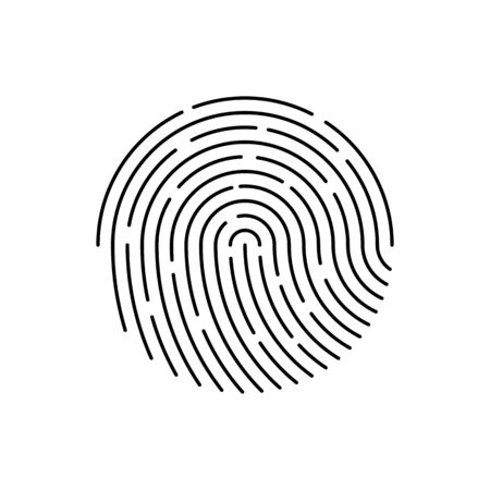 Human black color fingerprint for security check at the entrance.  Human fingerprint for security verification during identification or authorization vector eps10. access control.