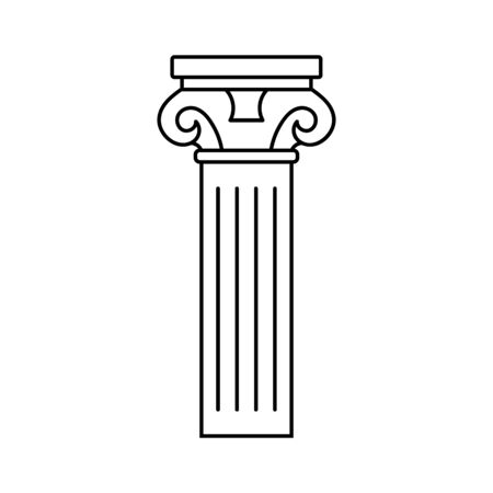 Antique ancient outline column of the Roman Empire for theatrical productions or decoration. Antique outline column with a pattern vector eps10. Decorative column building architecture symbol Illustration