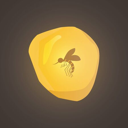piece of amber with a mosquito inside. Piece of amber sunny orange glowing from the inside with an insect. amber with insect, mosquito vector eps10.