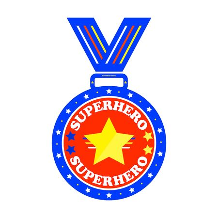 Superhero medal with big yellow star and ribbons. Illustration