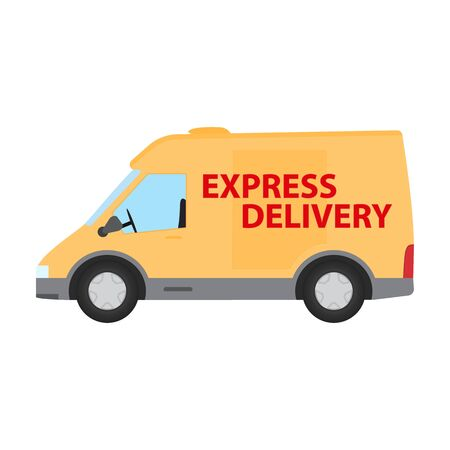 Orange color delivery van isolated on white. Delivery express service van icon for web. Illusztráció