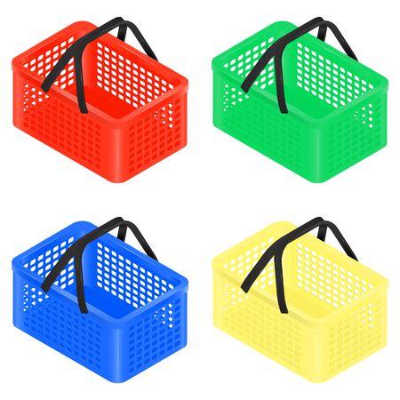 Set of four isometric plastic multi-colored shopping baskets. Isometric Plastic basket icon for web online shopping. Red  isometric plastic grocery shopping basket isolated on white.